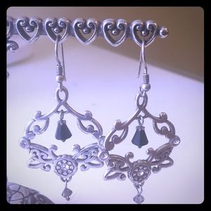 Silver earrings with Jet and Crystal dangles